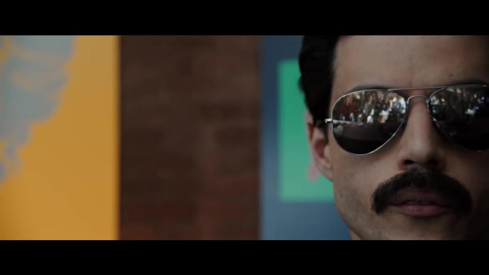 0f5615b11102 Rami Malek as Freddie Mercury in Bohemian Rhapsody wearing Aviator  Sunglasses