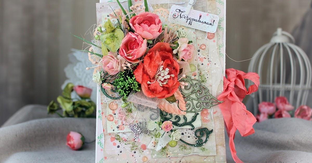 Год, самодельная открытка живыми цветами
