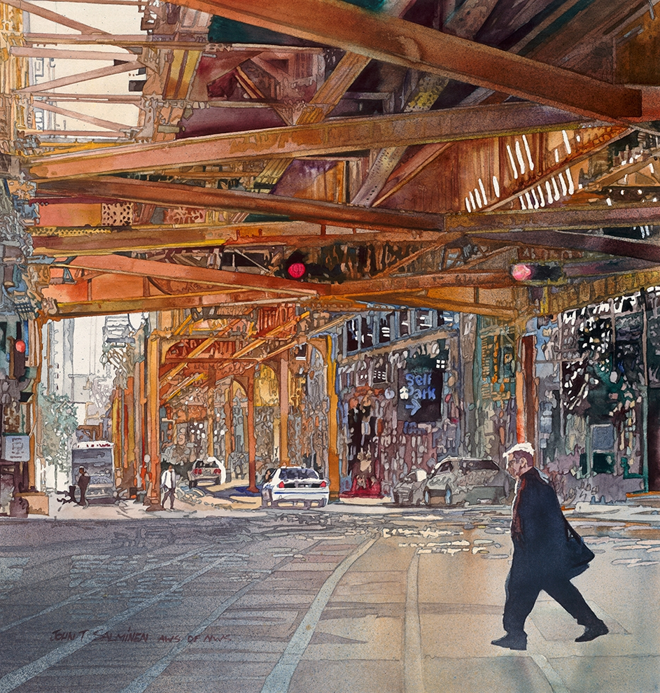 05-Chicago-Wacker-Drive-John-Salminen-Watercolor-Paintings-Taking-Glimpses-into-our-Life-www-designstack-co