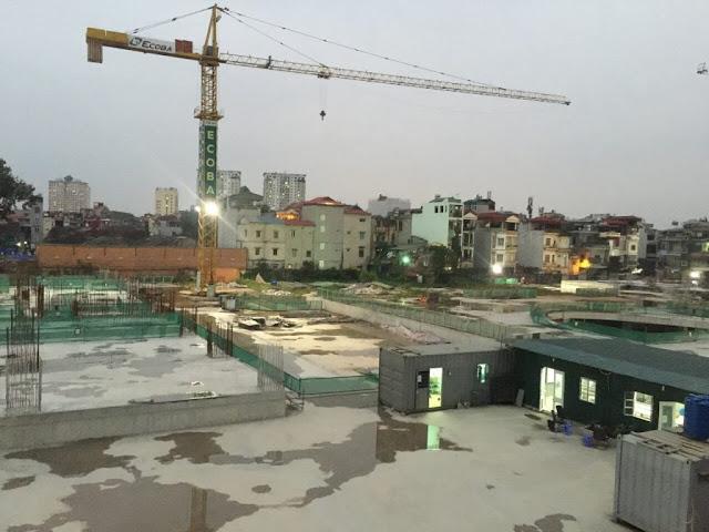 Hình ảnh thực tế về công trường xây dựng tại Hinode City Minh Khai