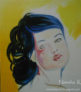 Beautiful woman oil painting by nimisha k