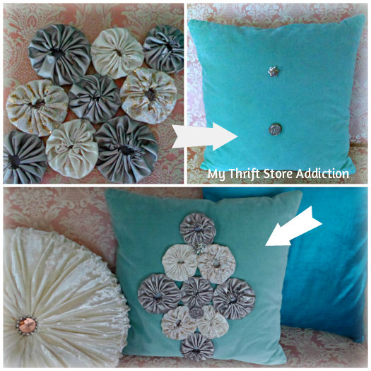 Recreate Your Pillows: A Holiday Fashion Show mythriftstoreaddiction.blogspot.com Save money by upcycling your pillows for the holidays instead of buying new!