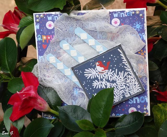 Zimowa kartka z letnim akcentem