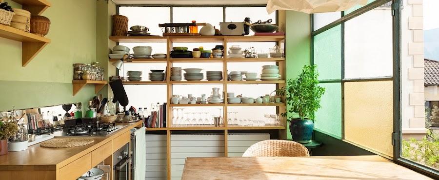 Vista general de una cocina ordenada