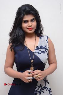 Telugu Actress Alekhya Stills in Blue Long Dress at Plus One ( 1) Audio Launch  0095.jpg