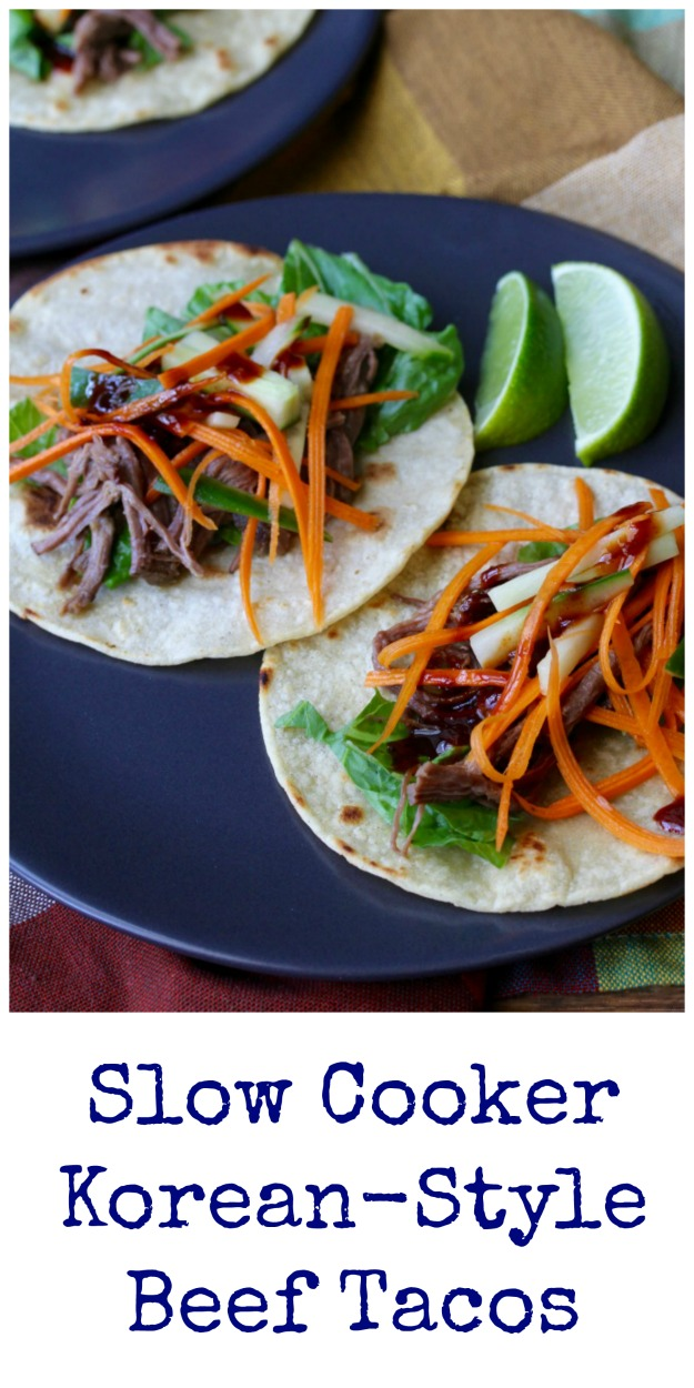 These Slow Cooker Korean-Style Beef Tacos are so so meaty and flavorful. They are filled with spicy slow cooked flank steak, as well as a fresh cucumber and carrot slaw.
