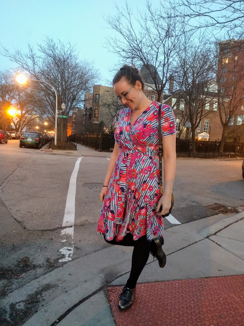Me on a street corner in my Vogue 8379 wrap dress.