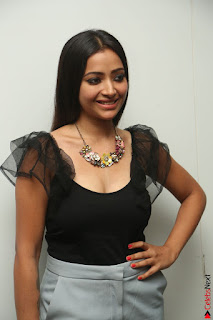 Swetha Basu in a Black Sleeveless Top Long Skirt at Mixture Potlam Movie Audio Launch 083.JPG
