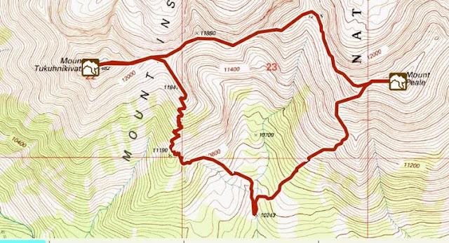 Mt. Peale & Mt. Tukuhnikivatz trail map