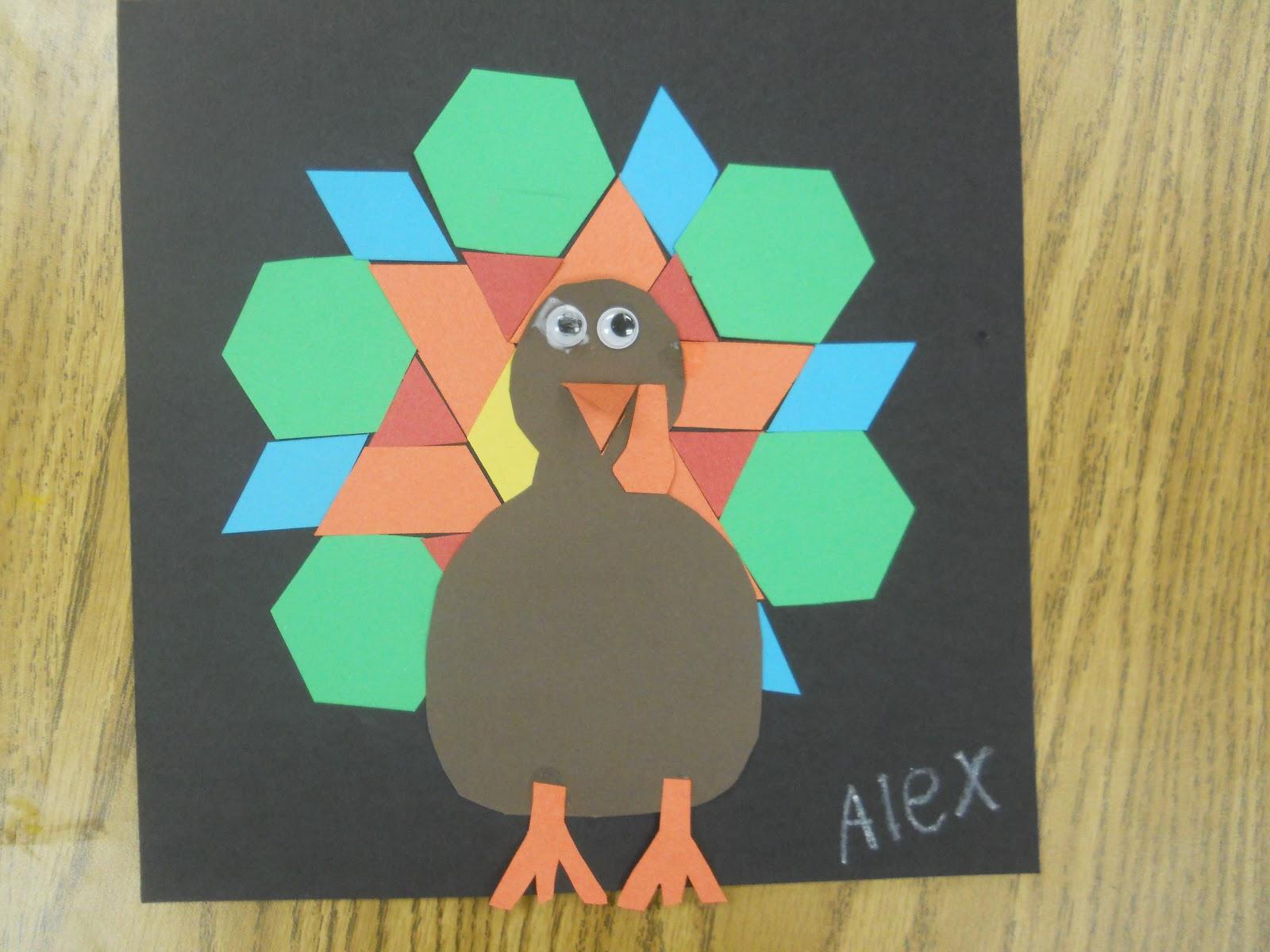 Mrs T S First Grade Class Pattern Block Turkeys