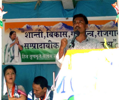 Ratan Lama addressing TMC meeting at Mungpoo Nalidara