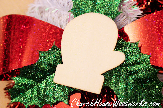 Wooden Mitten Ornaments - DIY Christmas Ornaments - DIY Christmas Wreath - Add To Christmas Village Winter Scenery by ChurchHouseWoodworks.com