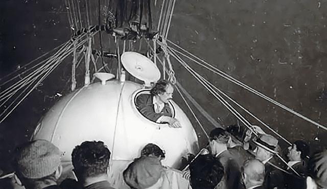 Auguste Piccard em sua bola de alumínio pressurizada