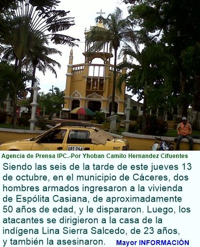 Hombres armados asesinaron a dos mujeres en Cáceres, Antioquia