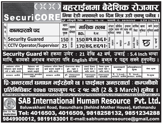Jobs in Bahrain for Nepali, Salary Rs 46,961