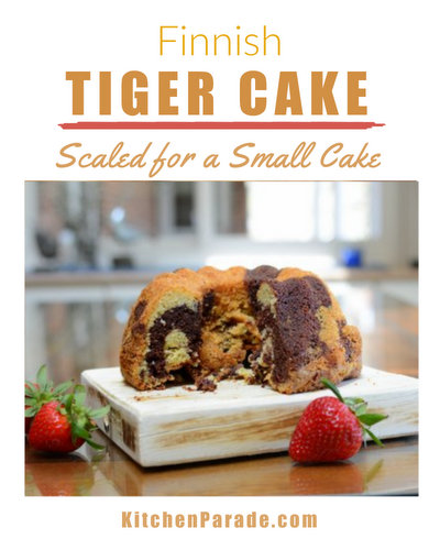 Finnish Tiger Cake ♥ KitchenParade.com, a mini chocolate marble pound cake with stripes just like a tiger, easy to double for a large family or a party.