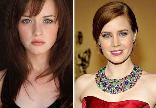 Шатенка и рыжая с голубыми глазами