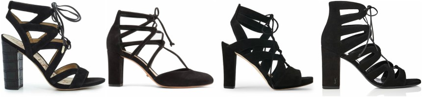 One of these pairs of block heel lace-up pumps is from Saint Laurent for $995 and the other three are under $100. Can you guess which one is the designer pair?