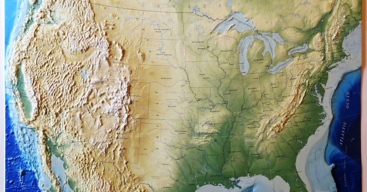 Raised Relief Map Of The United States Vivid Maps - Us topo relief map