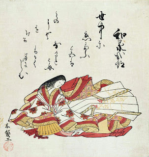 Izumi Shikibu shown on an 18th century woodblock print.