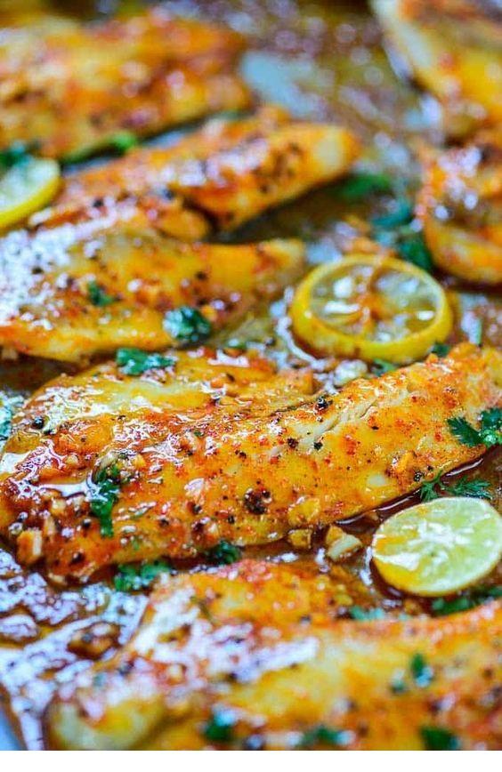Spicy Lemon Garlic Baked Tilapia