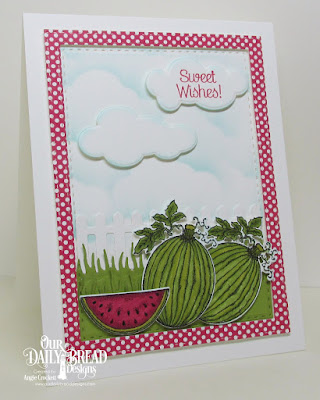ODBD Thanks A Melon, ODBD Custom Watermelon Dies, ODBD Custom Grass Lawn Die, ODBD Custom Fence Die, ODBD Custom Clouds and Raindrops Dies, ODBD Custom Double Stitched Rectangles Dies, ODBD Boho Bolds Paper Collection, Card Designer Angie Crockett