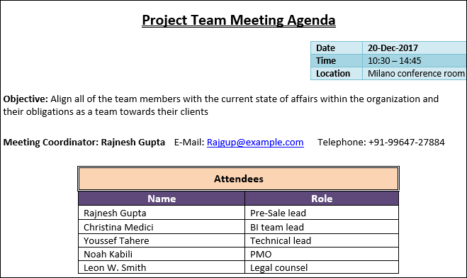 Team Meetings Agenda, Project Team Meeting Agenda Template