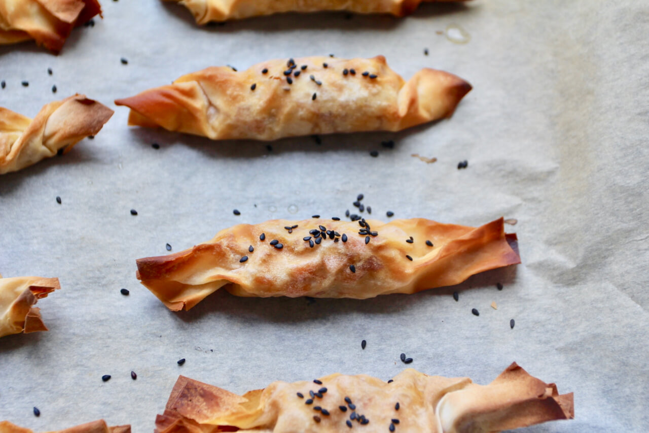 Pikante Filo Bonbons mit Süßkartoffeln