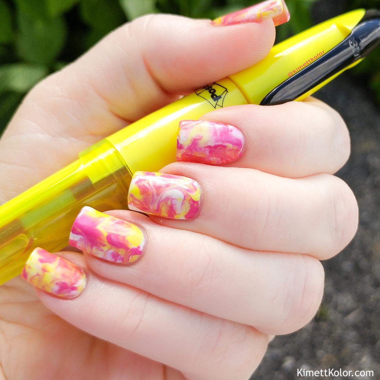 KimettKolor Pink Lemonade Smoosh Nail Art