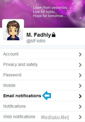 Nonaktifkan Notifikasi Email Twitter