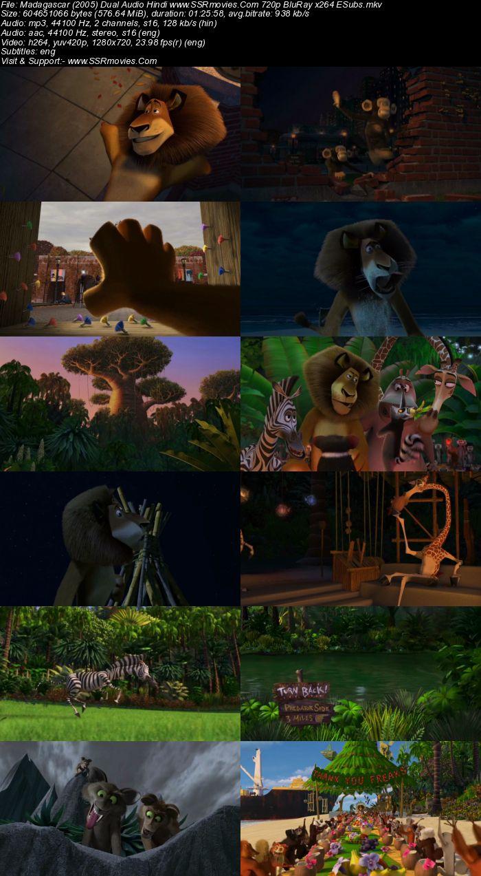 Madagascar (2005) Dual Audio Hindi 480p BluRay x264 250MB ESubs Movie Download