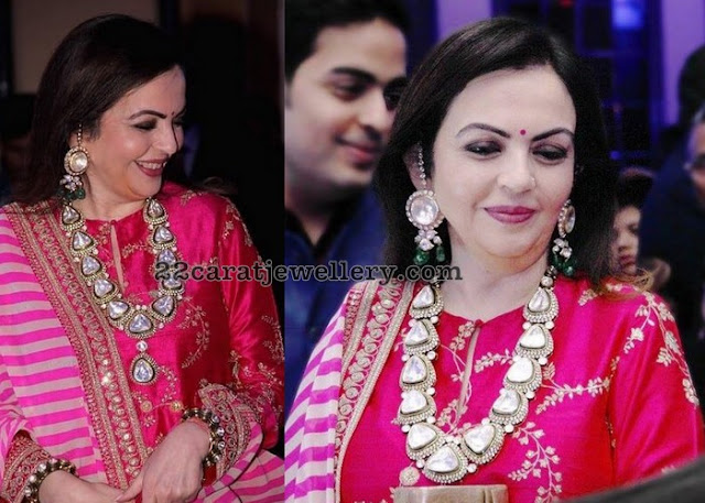 Nita Ambani in Large Polki Diamond Long Set