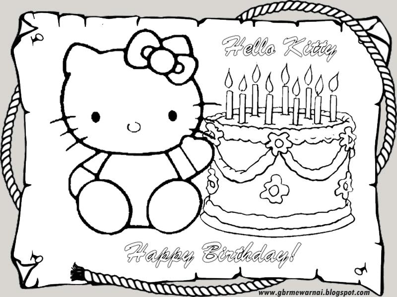 Mewarnai Gambar Kartun Hello Kitty Ulang Tahun Untuk Tk