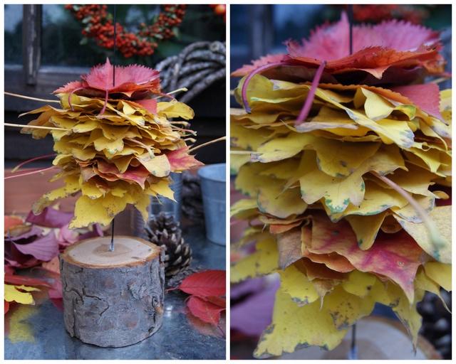 DIY Bäumchen aus Laub - Blätter der Größe nach aufspießen
