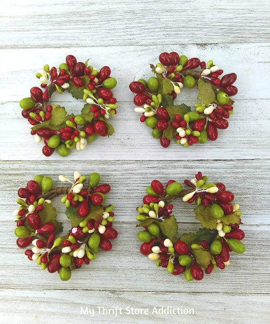 thrifted mini berry wreaths