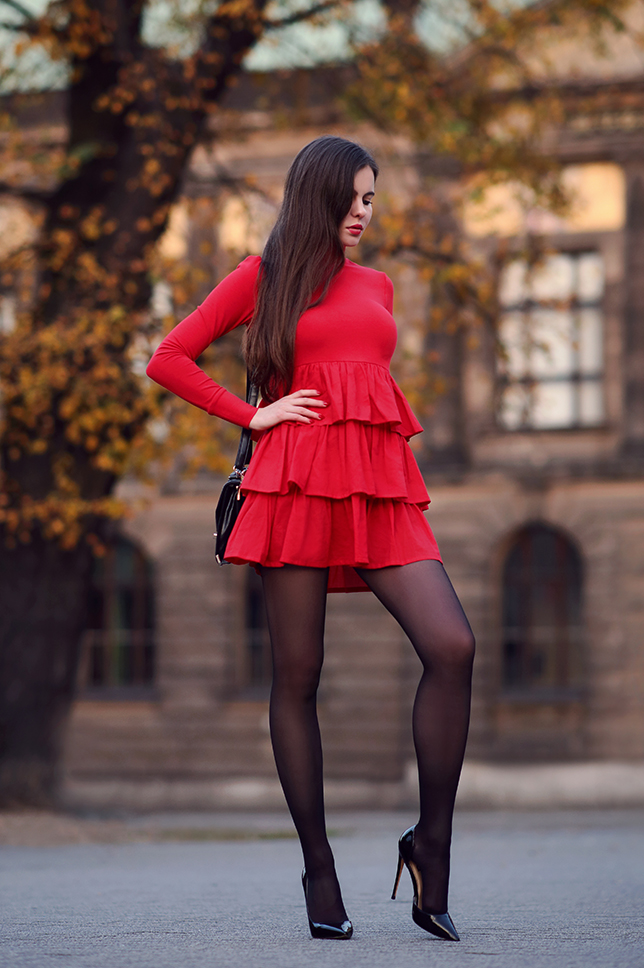 Red Dress and Black Tights