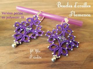 boucles d'oreilles en frivolité, modèle facile et gratuit réalisé avec du fil polyester et des perles