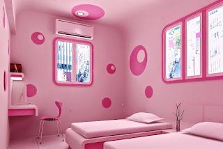 Model Kamar Tidur Anak Perempuan Cat Warna Pink Terbaru