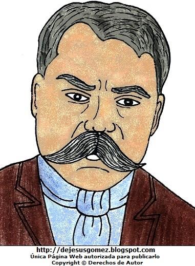 Dibujo de Emiliano Zapata a colores para niños. Imagen de Emiliano Zapata hecho por Jesus Gómez