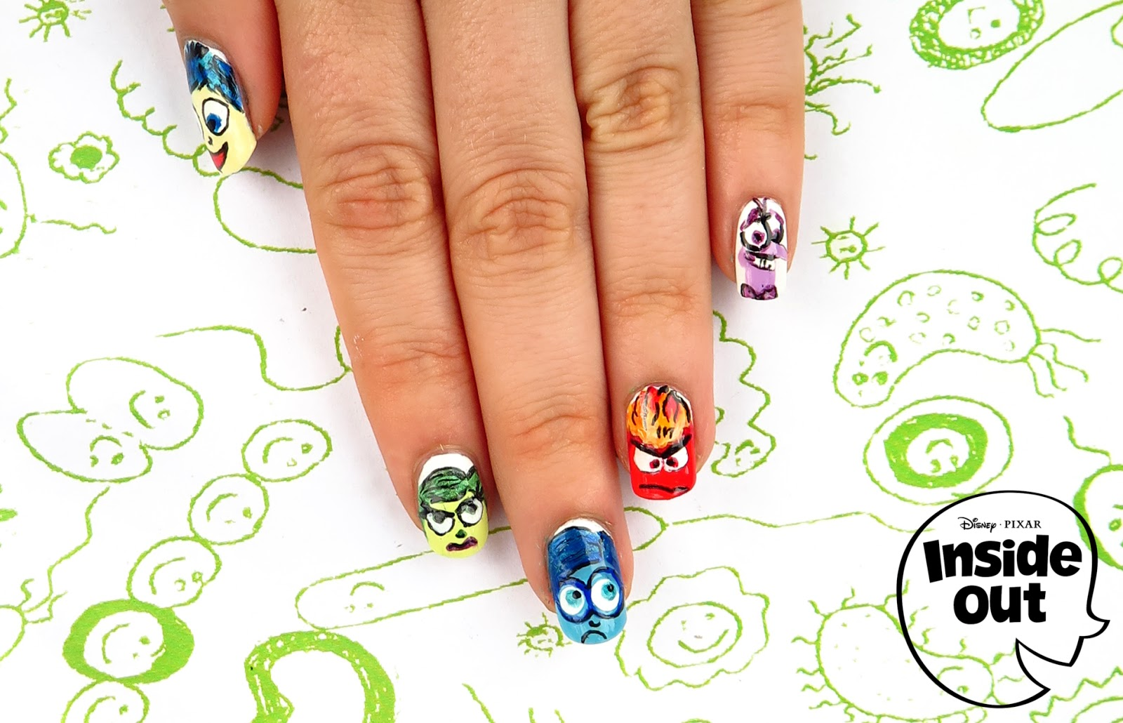 85ad7d0eac1a Joy sadness anger fear disgust inside out nails nailart drawing simple JPG  1600x1030 Joy anger inside