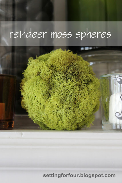Make these quick and easy DIY Reindeer Moss Balls for home decor accents! See the tutorial! Add them to a mantel, a bowl or apothecary jar for a pretty pop of green color! Nice for spring decor too.