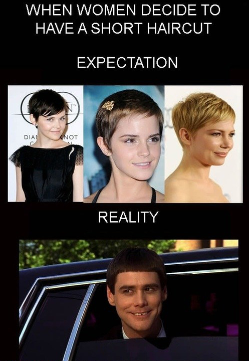 Funny Women Haircut Expectations Reality Check Picture