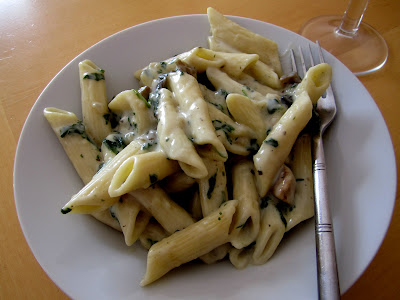 Spinach and Mushroom Pasta in creamy white sauce