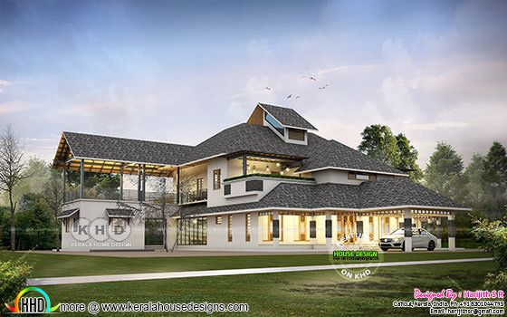 Sloping roof luxurious house plan with 6 bedrooms