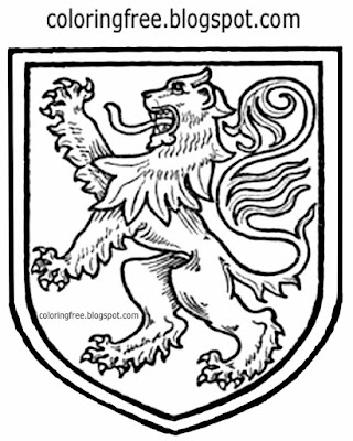 Good king Richard lion royal coat of arms of the United Kingdom medieval coloring page for teenagers