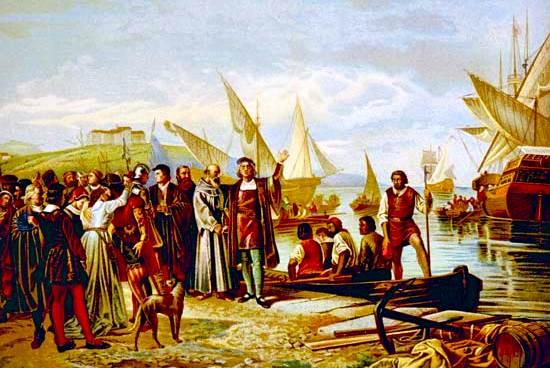 Cristóbal Colón partiendo de Palos, España, el 3 de agosto de 1492