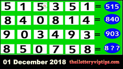 Thai lottery 3up pair VIP formula numbers 01 December 2018