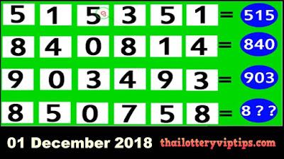 Thai lottery 3up pair VIP formula numbers 01 December 2018