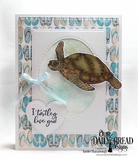 Our Daily Bread Designs Stamp/Die Duos: Turtle Love, Custom Dies:  Pierced Rectangles, Double Stitched Ovals, Layering Hearts, Paper Collection: By the Shore