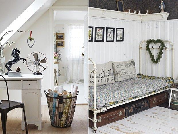 detalle despacho y dormitorio con cama de forja